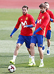 Spain's Sergio Ramos (l) and Gerard Pique during training session. March 21,2017.(ALTERPHOTOS/Acero)