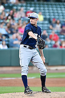 Andrew Heaney (35) of the New Orleans Zephyrs delivers a pitch to the plate against the Salt Lake Bees in Pacific Coast League action at Smith's Ballpark on August 27, 2014 in Salt Lake City, Utah.  (Stephen Smith/Four Seam Images)