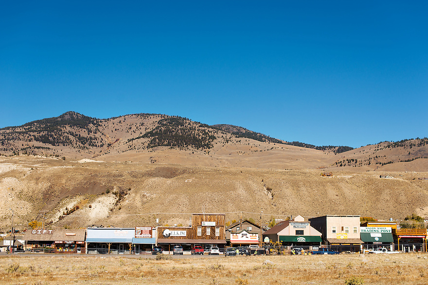 Storefronts line West Park Street near the North Entrance to Yellowstone National Park in Gardiner, Montana.