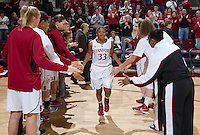 Stanford's Amber Orrange is being announced before that start of Saturday, November 25, 2012 game against Long Beach State at Stanford. Stanford won 77-41.