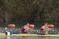 Caversham. Berkshire. UK<br /> Men's pair, Matt HNATIWW and Will HALL, competing at the 2016 GBRowing U23 Trials at the GBRowing Training base near Reading, Berkshire.<br /> <br /> Monday  11/04/2016 <br /> <br /> [Mandatory Credit; Peter SPURRIER/Intersport-images]