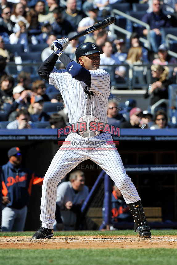 Apr 03, 2011; Bronx, NY, USA; New York Yankees infielder Derek Jeter (2) during game against the Detroit Tigers at Yankee Stadium. Tigers defeated the Yankees 10-7. Mandatory Credit: Tomasso De Rosa