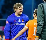AMSTELVEEN -  keeper Philip van Leeuwen (Adam) na de play-offs hoofdklasse  heren , Amsterdam-Bloemendaal (0-2).    COPYRIGHT KOEN SUYK