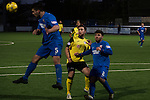 Edinburgh City's Ross Allum (centre) watches as Montrose clear the danger. It was a trip on the City striker which lead to his team's winning goal from the penalty spot. It was Edinburgh City's first Scottish League visit to Montrose since the club were promoted from the Lowland League the previous season. City won the match 1-0 to record their first league win of the season, captain Dougie Gair scoring the winner from the penalty spot in the 68th minute in a match watched by 388 spectators.