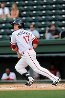 Catcher Jordan Procyshen (17) of the Greenville Drive bats in a game against the Lexington Legends on Tuesday, April 14, 2015, at Fluor Field at the West End in Greenville, South Carolina. Lexington won, 5-3. (Tom Priddy/Four Seam Images)