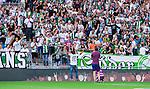 Stockholm 2014-07-20 Fotboll Superettan Hammarby IF - &Ouml;sters IF :  <br /> Hammarbys Linus Hallenius h&auml;lsas v&auml;lkommen tillbaka till Hammarby av Hammarbys supportrar<br /> (Foto: Kenta J&ouml;nsson) Nyckelord:  Superettan Tele2 Arena Hammarby HIF Bajen &Ouml;ster &Ouml;IF supporter fans publik supporters portr&auml;tt portrait jubel gl&auml;dje lycka glad happy