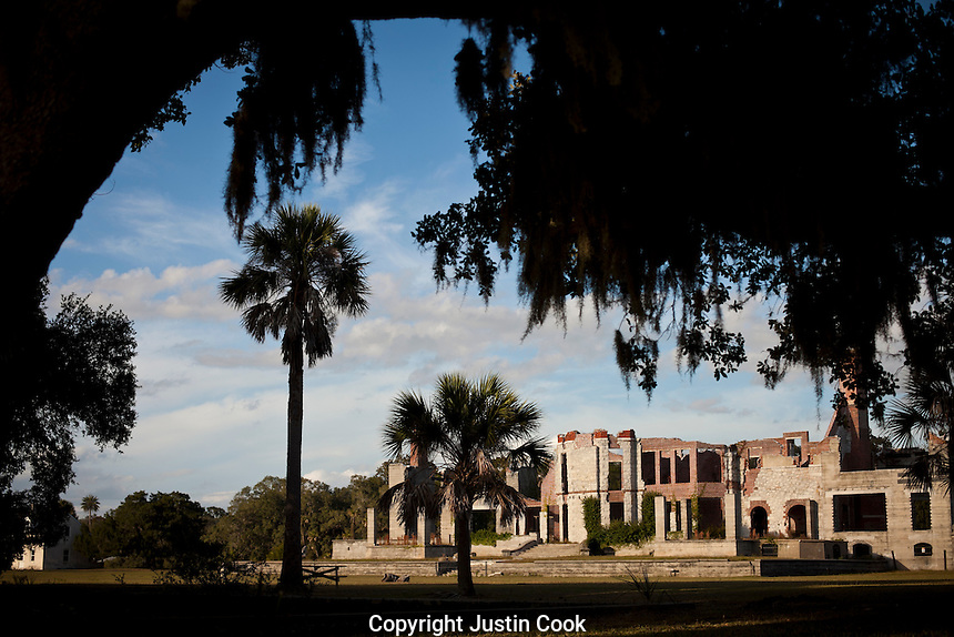 Ruins of a Carnegie mansion at Cumberland Island National Seashore in Georgia.