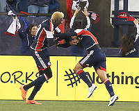 New England Revolution forward Benny Feilhaber (22) celebrates his goal with teammate. In a Major League Soccer (MLS) match, the New England Revolution defeated Chicago Fire, 2-0, at Gillette Stadium on June 2, 2012.