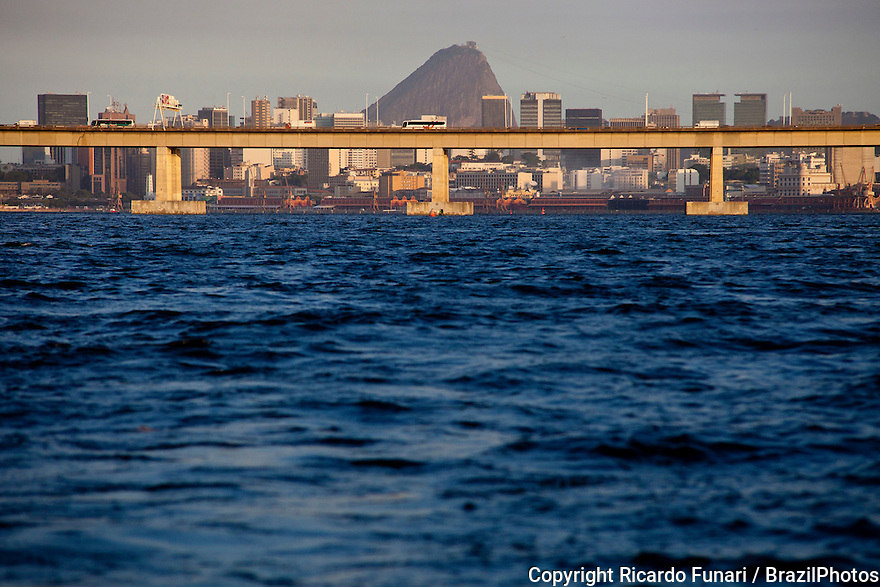 Sugar Loaf, Rio de Janeiro downtown area and Rio-Niteroi bridge seen from Guanabara bay.