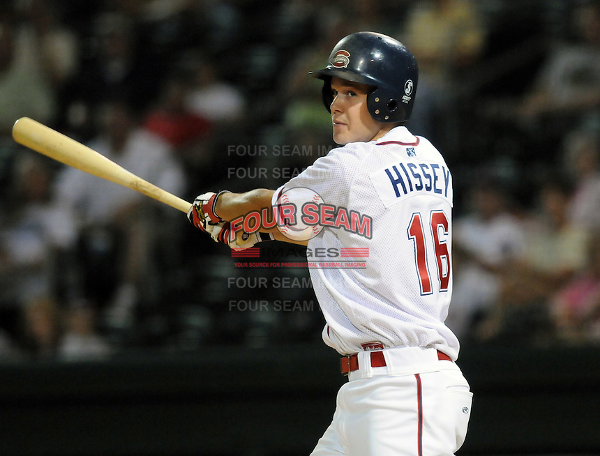 August 27, 2009: Outfielder Pete Hissey (16) of the Greenville Drive, Class A affiliate of the Boston Red Sox, in a game at Fluor Field at the West End in Greenville, S.C. Photo by: Tom Priddy/Four Seam Images