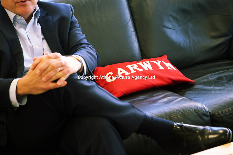"A red cushion with the name ""Carwyn"" on it next to the Mirst Minister for Wales Carwyn Jones in his office at the Ty Hywel building in Cardiff Bay, Wales, UK. Wednesday 13 September 2017"
