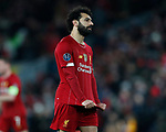 Mohamed Salah of Liverpool pulls at his shirt in frustration during the UEFA Champions League match at Anfield, Liverpool. Picture date: 11th March 2020. Picture credit should read: Darren Staples/Sportimage