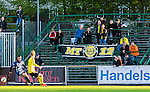 Uppsala 2015-05-21 Fotboll Superettan IK Sirius - Mj&auml;llby AIF :  <br /> Mj&auml;llbys supportrar p&aring; Studenternas bortal&auml;ktare under matchen mellan IK Sirius och Mj&auml;llby AIF <br /> (Foto: Kenta J&ouml;nsson) Nyckelord:  Superettan Sirius IKS Mj&auml;llby AIF supporter fans publik supporters utomhus exteri&ouml;r exterior