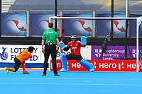Malaysia's Fitri Saari scores from a penalty shot during the Hockey World League Semi-Final match between Argentina and Malaysia at the Olympic Park, London, England on 24 June 2017. Photo by Steve McCarthy.