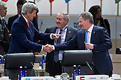 United States Secretary of State John Kerry, left, talks to Sauli Niinisto, Finland's president, right, and Nasser Judeh, Jordan's minister of foreign affairs, center, during a closing session at the Nuclear Security Summit in Washington, D.C., U.S., on Friday, April 1, 2016. After a spate of terrorist attacks from Europe to Africa, U.S. President Barack Obama is rallying international support during the summit for an effort to keep Islamic State and similar groups from obtaining nuclear material and other weapons of mass destruction. <br /> Credit: Andrew Harrer / Pool via CNP