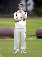 North London captain Jack Atchinson looks on pensively during the Middlesex County Cricket League Division Three game between North London and Wembley at Park Road, Crouch End on Sat Aug 2, 2014