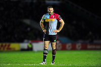 Jamie Roberts of Harlequins looks on during a break in play. European Rugby Challenge Cup semi final, between Harlequins and Grenoble on April 22, 2016 at the Twickenham Stoop in London, England. Photo by: Patrick Khachfe / JMP