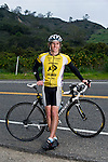 Geoff Goral, a biking enthusiast, takes a moment to pose for a portrait deep in the back roads of Carpinteria, Calif., after biking 15 miles on a murky saturday afternoon in early February.