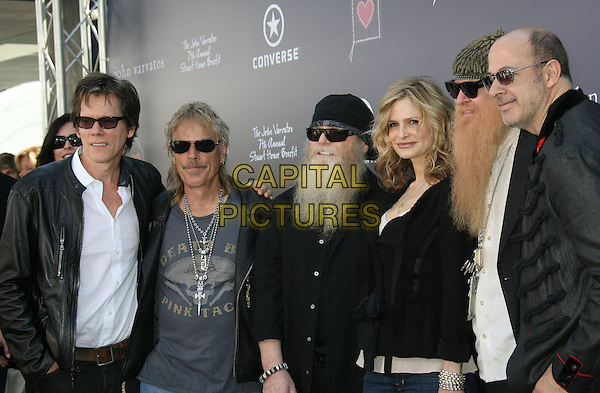 KEVIN BACON, KYRA SEDGWICK & ZZ TOP - Billy Gibbons Dusty Hill and Frank Beard .John Varvatos Partners with Converse for the 7th Annual Stuart House Benefit held at the John Varvatos Boutique, West Hollywood, California, USA,  .08 March 2009..half length beard facial hair band group shot hat hats sunglasses wife husband .CAP/ADM/MJ.©Michael Jade/Admedia/Capital Pictures
