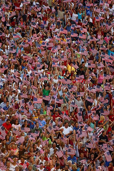 crowd waving flags at Stadium of Fire; 7.01.2006<br />