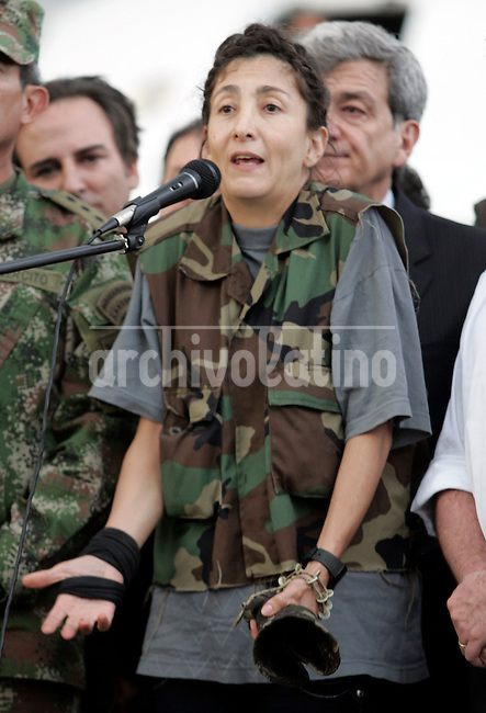 Former hostage Ingrid Betancourt speaks  upon her arrival to Bogota after being rescued from leftist guerrillas FARC that hold her captive during 6 years..