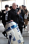 March 20, 2017, Tokyo, Japan - US movie Star Wars' C-3PO actor Anthony Daniels smiles with R2-D2 robot as he attends a presentation of All Nippon Airways (ANA) C-3PO jetliner at a hanger of ANA at Tokyo's Haneda airport on Monday, March 20, 2017. C-3PO designed Boeing 777-200 jet will start domestic flight service from March 21.    (Photo by Yoshio Tsunoda/AFLO) LwX -ytd-