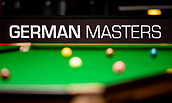 """30th January 2019, Berlin, Germany;  """"German Masters"""" can be read in the Tempodrom at the German Masters 2019 behind a snooker table."""