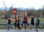 "People run in Kaskante on March 26, 2015, Basque Country. The ""19th Korrika"" is a relay of hand to hand baton passing without interruption over 11 days and 10 nights crossing many Basque villages and cities, totalling some 2300 kilometres in a bid to promote the basque language.The ""Korrika"" this year end in Bilbao on March 29. (Ander Gillenea / Bostok Photo)"