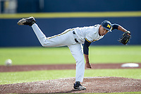 Michigan Wolverines pitcher Isaiah Paige (25) follows through on his delivery against the San Jose State Spartans on March 27, 2019 in Game 1 of the NCAA baseball doubleheader at Ray Fisher Stadium in Ann Arbor, Michigan. Michigan defeated San Jose State 1-0. (Andrew Woolley/Four Seam Images)
