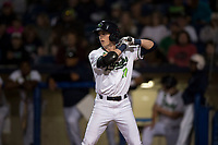 Hillsboro Hops left fielder Kevin Watson Jr (27) at bat during a Northwest League game against the Salem-Keizer Volcanoes at Ron Tonkin Field on September 1, 2018 in Hillsboro, Oregon. The Salem-Keizer Volcanoes defeated the Hillsboro Hops by a score of 3-1. (Zachary Lucy/Four Seam Images)