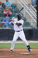 Micker Adolfo (27) of the Kannapolis Intimidators at bat against the Delmarva Shorebirds at Kannapolis Intimidators Stadium on April 21, 2016 in Kannapolis, North Carolina.  The Intimidators defeated the Shorebirds 9-3.  (Brian Westerholt/Four Seam Images)