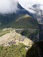 MACHUA PICCHU RUINS FROM THE TOP OF WAYNAPICCHU MOUNTAIN
