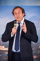 Il Presidente UEFA Michel Platini parla durante la cerimonia di consegna del Trofeo dell'Europa League a Palazzo Madama di Torino  Europa League Trophy Handover   <br /> Uefa President Michel Platini attends the Europa League Trophy handover ceremony<br /> <br /> Torino 16/04/2014   Football Calcio   Foto Giorgio Perottino / Insidefoto