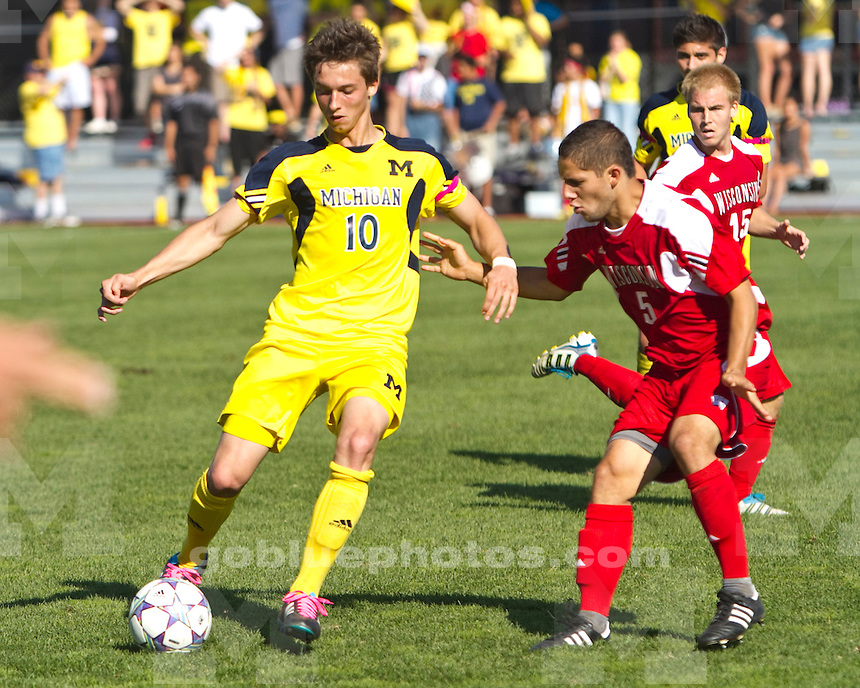 The University of Michigan men's soccer team lost to Wisconsin 2-1 at the U-M Soccer Complex in Ann Arbor, Mich., on October 9, 2011.