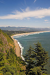 View to Manzanita Beach from Highway 101 lookout point on Neahkahnie Mountain in Osward West State park, Oregon coast.