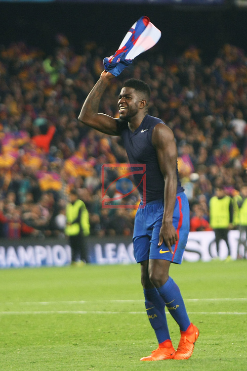 UEFA Champions League 2016/2017.<br /> Round of 16 2nd leg<br /> FC Barcelona vs Paris Saint-Germain: 6-1.<br /> Samuel Umtiti.