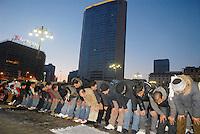- demonstration against the attack of Israel to the Gaza Strip; Islamic prayer in Duca D'Aosta square....- manifestazione contro l'attacco di Israele alla striscia di Gaza; preghiera islamica in piazza Duca D'Aosta