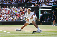 Novak Djokovic (SRB) during his match against Kevin Anderson (RSA) in the Final of the Gentlemen's Singles<br /> <br /> Photographer Rob Newell/CameraSport<br /> <br /> Wimbledon Lawn Tennis Championships - Day 13 - Sunday 15th July 2018 -  All England Lawn Tennis and Croquet Club - Wimbledon - London - England<br /> <br /> World Copyright © 2017 CameraSport. All rights reserved. 43 Linden Ave. Countesthorpe. Leicester. England. LE8 5PG - Tel: +44 (0) 116 277 4147 - admin@camerasport.com - www.camerasport.com