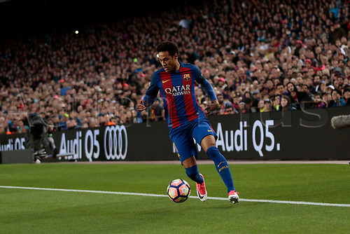 April 5th 2017, Nou Camp, Barcelona, Spain, Spanish La Liga football, FC Barcelona versus Espanyol;   Neymar controls the ball along the wing and cuts into the Espanyol box