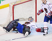 April 28, 2007; Hamilton, ON, CAN; Hamilton Bulldogs goalie (29) Carey Price looks up after being tripped from behind by Rochester Americans right winger (22) Greg Jacina (not pictured) during the third period of game six in the AHL north division semifinal at Copps Coliseum. The Bulldogs won 6-2 and eliminated the Americans from the playoffs. Mandatory Credit: Ron Scheffler, Special to the Spectator. (File number RRSA8532).
