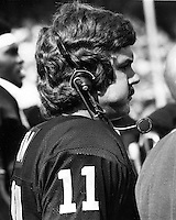 Oakland Raider Quarterback David Humm on the sidelines. (1976 photo by Ron Riesterer)