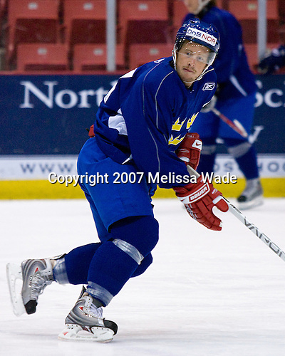 Eric Moe (Sweden/Timra IK - Timra, Sweden) - Team Sweden practices on Friday, August 10, 2007, morning in the 1980 Rink at Lake Placid, New York during the Summer Hockey Challenge.