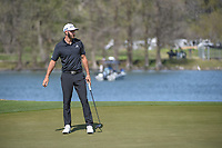 Dustin Johnson (USA) reacts to barely missing his putt on 14  during round 1 of the World Golf Championships, Dell Match Play, Austin Country Club, Austin, Texas. 3/21/2018.<br /> Picture: Golffile | Ken Murray<br /> <br /> <br /> All photo usage must carry mandatory copyright credit (&copy; Golffile | Ken Murray)