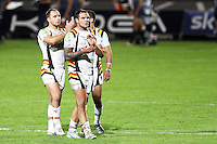 PICTURE BY ALEX WHITEHEAD/SWPIX.COM - Rugby League - Super League - Bradford Bulls vs Hull FC - Odsal Stadium, Bradford, England - 01/09/12 - Bradford's Luke Gale (L) and Jason Crookes (R) thank the fans, supporters.
