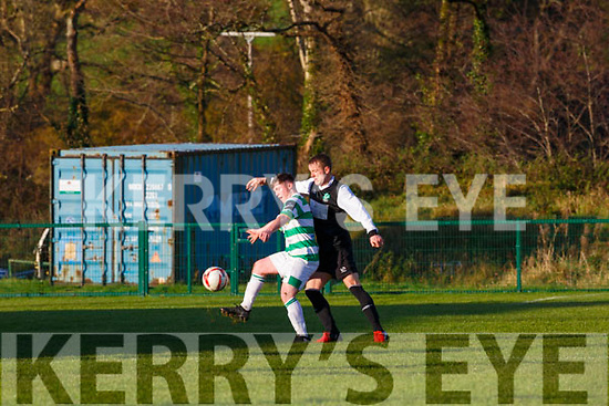 Killarney Celtic Chris O'Leary stops the Castlebar striker during their FAI clash in Killarney on Sunday