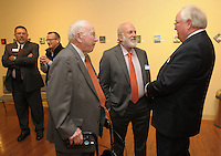 NWA Democrat-Gazette/ANDY SHUPE<br /> John Tyson (center), chairman of Tyson Foods, Inc.; speaks Thursday, Oct. 29, 2015, with Walter Turnbow (left), a longtime civic leader; and Jim Rollins, superintendent of Springdale Public Schools; before the start of the Springdale Public Schools Education Foundation Cornerstone Society induction ceremony at the Arts Center of the Ozarks in Springdale. Tyson is a member of the Class of 1971 and was honored during the ceremony. Visit nwadg.com/photos to see more photographs from the evening.