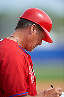 Philadelphia Phillies Pat Borders during a minor league Spring Training game against the Toronto Blue Jays on March 26, 2016 at Englebert Complex in Dunedin, Florida.  (Mike Janes/Four Seam Images)