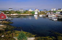 Fishing village of Peggy's Cove with harbour and fishing sheds in Nova Scotia, Canada