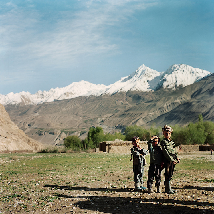 Boys take a break from playing in the village of Ghaz Khan in the Wakhan Corridor.  Schooling has recently been made accessible in most villages, making this new generation the first to benefit from widespread education and stability.