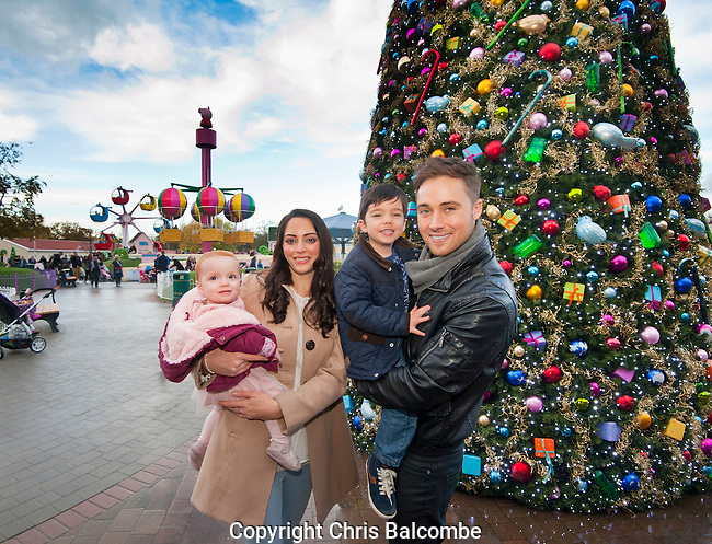 Pictured at Paultons Park, Ower, Hampshire, is TV hearththrob Marcus Patrick, star of HollyOaks, with his partner Georgia Martin and their two children Ethan and Halle.<br />